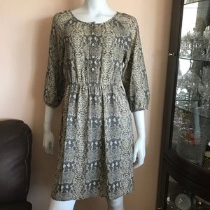 Marc by Marc Jacobs Gray Taupe Print Silk Dress